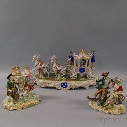 Three Dresden Porcelain Figural Groups
