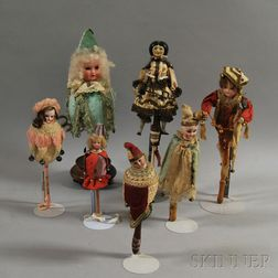 Seven Mostly Bisque Head Figural Marottes