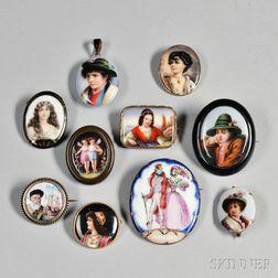 Ten Portrait Miniatures on Porcelain