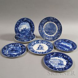 Nine Wedgwood Blue and White Transfer-decorated Plates
