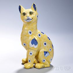 Emile Gallé Faience Model of a Cat