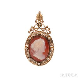 Antique Gold, Hardstone Cameo, and Diamond Pendant/Brooch