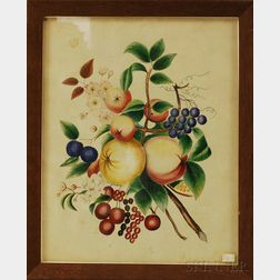 Framed Watercolor on Velvet Theorem of Fruit