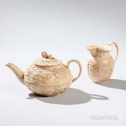 Two Wedgwood Smear Glazed Caneware Items