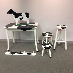 Vermont Sled Company Cow-design Table, Three Stools, Clothing Rack, and Puzzle