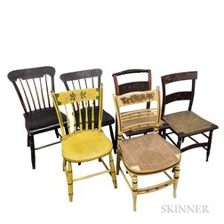 Six Painted and Stenciled Country Side Chairs
