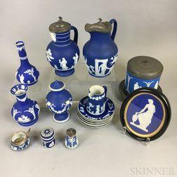 Seventeen Wedgwood Dark Blue Jasper Items