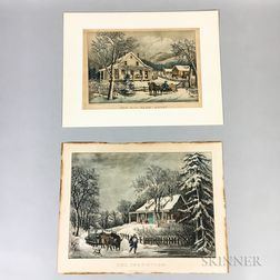 Six Unframed Currier & Ives Lithographs