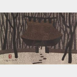 Saito Kiyoshi: Wooded Entrance to a Shrine