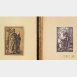 After Albrecht Durer (German, 1471-1528)      Lot of Two Images of Saints:  St. Christopher