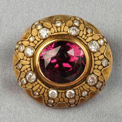 18kt Gold, Garnet, and Diamond Brooch, Alex Sepkus