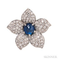 18kt White Gold, Sapphire, and Diamond Flower Pendant/Brooch