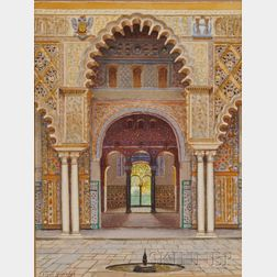 F. Liger Hidalgo (Spanish, 1880-1945)      Moorish Arch, probably The Alcazar Palace, Seville