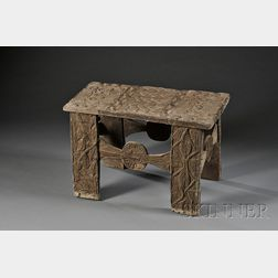 African Carved Wood Royal Stool