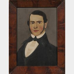 Attributed to William Matthew Prior (American, 1806-1873)      Portrait  of a Young Man with Brown Eyes and Sideburns