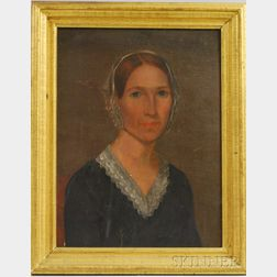 19th Century American School Oil on Canvas Portrait of Samantha Mary Parker