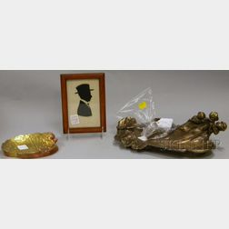 Art Nouveau Cast Metal Figural Inkwell, Brass Card Tray, and a   Miniature Framed Cut Paper Silhouette of a Man in a Hat