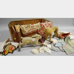 Assortment of Splint Baskets, Pull-toys, Lithographed Children's Handkerchiefs and   Doll's Clothing