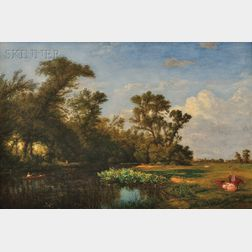 John William Hill (American, 1812-1879)      Along the Hackensack near Clarksville