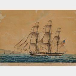 Jacob Petersen (Danish, 1774-1854) Ship ADELINE of Salem, commanded by JOSEPH FELT 3rd, Passing CRONBERG Castle near Elsinore the 20th
