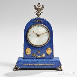 Lapis, Silver, and Gem-set Eight-day Desk Clock