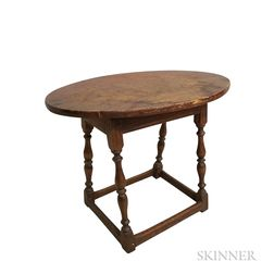 Stained Maple and Pine Oval-top Tavern Table