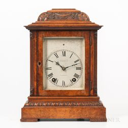 Lenzkirck Burl Walnut Dual-chime Quarter-hour Bracket Clock