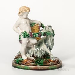 Wedgwood Majolica Figure of Boy and Goat