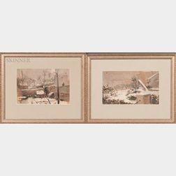 Two 19th Century French Winter Landscape Studies:    Paris Snowfall
