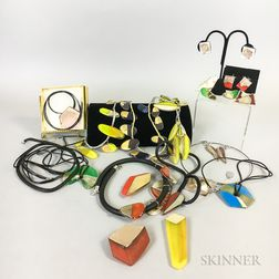 Thirty-six Pieces of Yoko Kuramoto Art Glass Jewelry