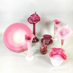Small Galle Cameo Glass Bud Vase and a Group of Late Victorian Pink Glass