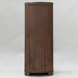 Red-painted Barrel-front Corner Cupboard