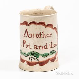 Staffordshire Enamel-decorated Salt-glazed Stoneware Half-pint Mug