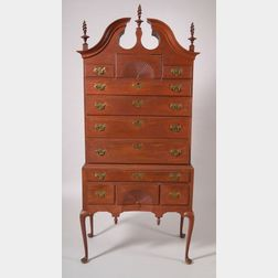 The Livermore Family Queen Anne Red-painted Cherry Carved High Chest of Drawers