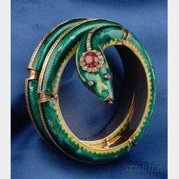 14kt Gold, Enamel and Gem-set Snake Bracelet