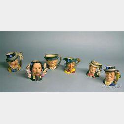 Six Large Royal Doulton Ceramic Character Jugs