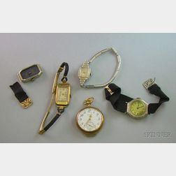 Lady's 14kt Gold Open Face Consular Case Elgin 7-Jewel Pocket Watch and Four Lady's Wristwatches