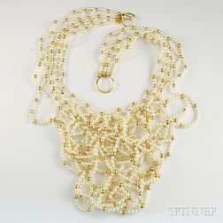 18kt Gold and Pearl Bib Necklace