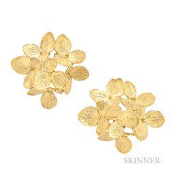 """18kt Gold """"Hydrangea"""" Earrings, John Iversen"""