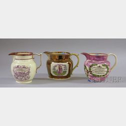 Three English Transfer Decorated Lustreware Jugs