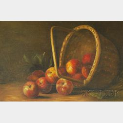 Attributed to Benjamin Champney  (American, 1817-1907)      Still Life with Basket of Apples.