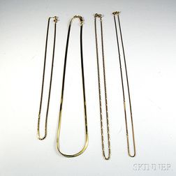 Four 14kt Gold Chains