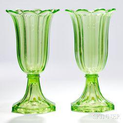Pair of Light Green Pressed Glass Tulip Vases
