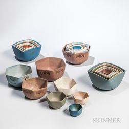 Four Sets of Pottery Nesting Bowls