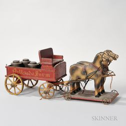 Folk Art Horse and Wagon Pull Toy
