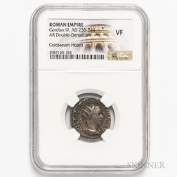 Roman Empire, Gordian III AR Double Denarius, Colosseum Hoard, NGC VF.     Estimate $40-60