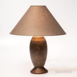 M. Anthouard Art Deco Metalwork Table Lamp