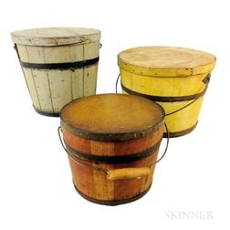 Three Painted Pine Stave-constructed Covered Pails