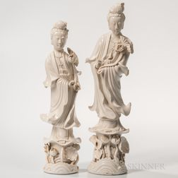 Two Blanc-de-Chine Figures of Guanyin