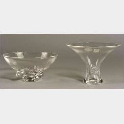 Two Steuben Colorless Glass Bowls